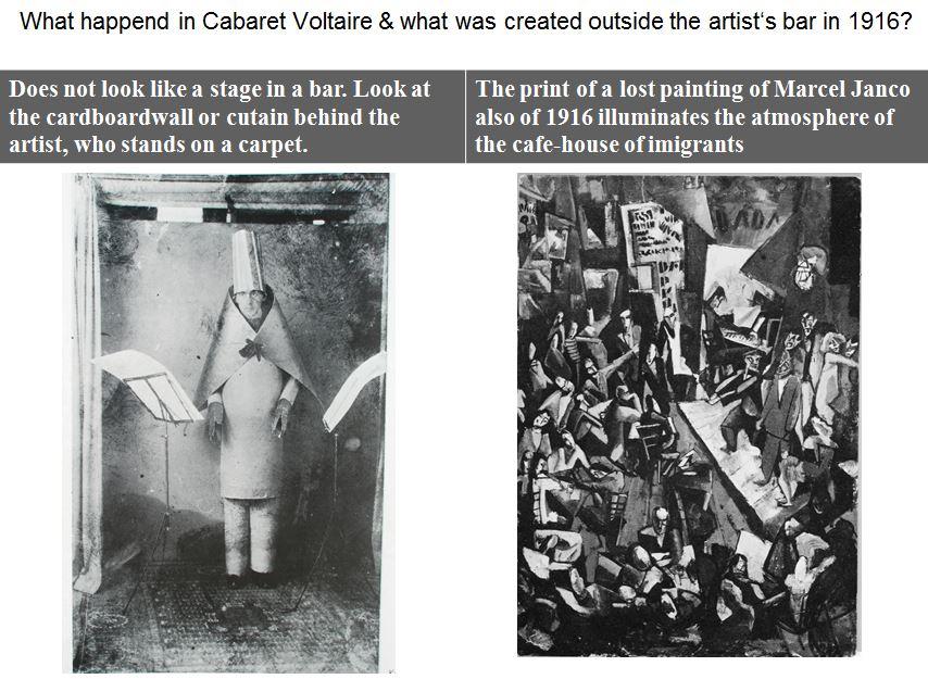 Hugo Ball auf dem Foto und auf einem Gemälde von Marcel Janco, beide 1916